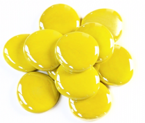 6 Large Glass Pebbles - Yellow Opalescent